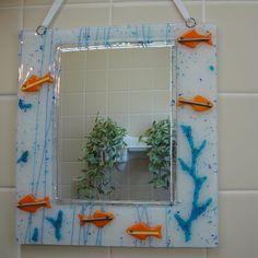 "ORANGE Fish Fused Glass Mirror $50 by FlutterByButterfly 9.25 x 10"""