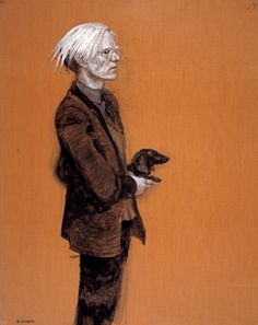 """While working at the Factory, Wyeth created numerous portraits of Warhol, including """"Andy Warhol — With Archie in Profile (Study #8),"""" 1976, showing the older artist clutching his dog. This combined media on cardboard work measures 53 by 42 inches. Collection of Jamie Wyeth. ©Jamie Wyeth."""