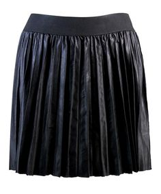 Take a look at this Black Pleated Faux Leather Skirt by Costa Blanca on #zulily today!