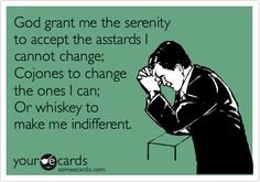 God grant me the serenity to accept the asstards I cannot change; Cojones to change the ones I can; Or whiskey to make me indifferent.