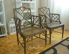 Faux bamboo chippendale arm chairs
