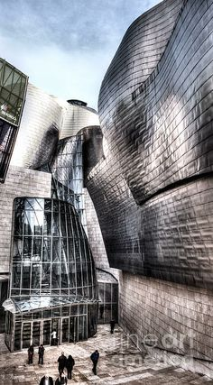 Main Entrance of Guggenheim Bilbao Museum In The Basque Country Spain by Weston Westomoreland