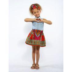Abina Dashiki African Print Full Skirt for Little Girls (Pink/Orange)
