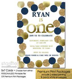Boy First Birthday Invitation Navy Blue and Gold Polka Dots 1st Birthday