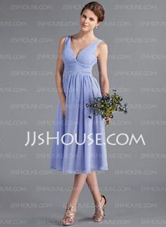 Bridesmaid Dresses - $99.99 - A-Line/Princess V-neck Tea-Length Chiffon Bridesmaid Dress With Ruffle (018026262) http://jjshouse.com/A-Line-Princess-V-Neck-Tea-Length-Chiffon-Bridesmaid-Dress-With-Ruffle-018026262-g26262