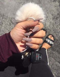 Taupe Coffin Nails