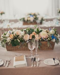 wooden box table centres?