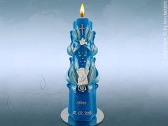Einzigartige von Hand geschnitzte  Kerzen  Taufkerze