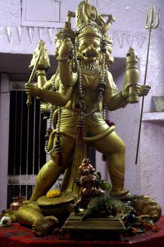 A bronze idol of Panchmukhi (5 faced) Hanuman (Monkey God) in the Bada Ganapati temple of Ujjain in Madhya Pradesh, India.