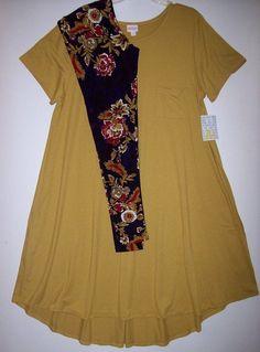 90bb8a7497130d NWT Lularoe Carly 3XL 3X Mustard Yellow TC Floral Navy Blue Leggings Outfit  #Lularoe #