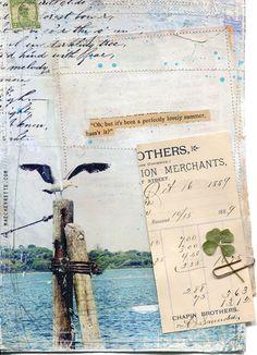 "Day 18 - 11""x14"" paper print - nautical beach mixed media art by Mae Chevrette"