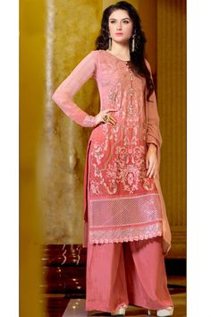 The suit comes along with matching #santoonpalazzobottom, #santooninner and #chiffondupatta.