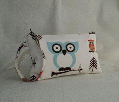 Square Wristlet  Zipper Pouch  Cute Owl by lireca on Etsy, $14.00