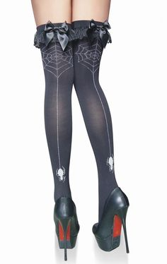 Lucky Doll Bikini and Lingerie - Gothic Black Spider Web Seam Bow Stockings