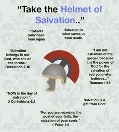 Helmet of Salvation - Christian faith Bible verses.  Salvation scripture. Ladies Bible Study / Women's Ministry