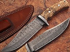 Custom Made Damascus Steel Traditional Hunting Knife w Burl Olive Wood Handle Damascus Bolster ** You can get additional details at the image link. (This is an affiliate link) Family Camping, Tent Camping, Camping Gear, Outdoor Camping, Camping Hacks, Outdoor Gear, Outdoor Shop, Car Hacks, Global Knife Set