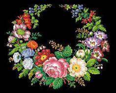 Patterns 4 - Victorian Cross Stitch and Berlin Wool Work Patterns Rose Embroidery, Embroidery Patterns Free, Cross Stitch Embroidery, Cross Stitch Patterns, Cross Stitch Bird, Cross Stitch Flowers, Cross Stitching, Needlepoint Stitches, Needlework