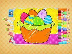 FREE Easter coloring pages - game for Kids. App on iPhone, iPad, Android. Free Easter Coloring Pages, Easter Colouring, Printable Coloring Pages, Coloring Books, Games For Kids, Activities For Kids, Egg Game, Color Games, Educational Crafts