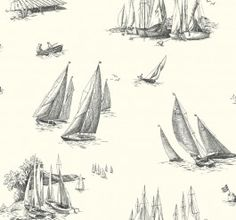 AC6138 Sailboat Toile from By the Sea by Ashford House is a wallpaper with a black sailboats on a white background.