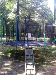 This links to a trampoline sprinkler tutorial, but I love to ladder to the trampoline. Backyard Toys, Backyard Playground, Backyard For Kids, Backyard Projects, Outdoor Projects, Playground Ideas, Kid Projects, Trampoline Steps, Backyard Trampoline