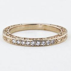 14b51201a8c7 Delicate Antique Scroll Ring in 18K Gold
