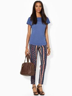 This lightweight tee is designed with a flattering ballet neckline and features beautiful textured jacquardknit trim at the front and back yoke. #Fashion  #RalphLauren