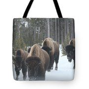 Yellowstone Buffalo Herd  Tote Bag by Bill and Deb Hayes