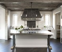 Rustic kitchen.  Brick ceiling, rustic wood | Linda McDougal Design