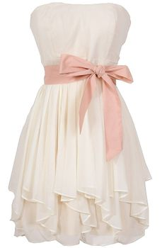 Ruffled Edges Chiffon Designer Dress in Ivory/Pink ♥