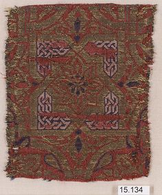 Fragment Date: 14th century Geography: Spain Culture: Islamic Medium: Silk, metal-wrapped thread; lampas Accession Number: 15.134