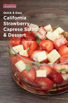 Fresh caprese salad is even better with strawberries and watermelons. Or, whip up fresas con crema for a dreamy dessert. Caprese Salad, Fruit Salad, Soup And Salad, Quick Easy Meals, Healthy Eats, Food Videos, Strawberries, Watermelon, Salads