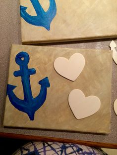Hand painted canvases for nautical themed party.  Make-it-yourself thank you gifts.  Completely customizable.