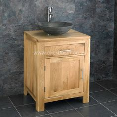Classic oak bathroom cabinets double sink with framed mirror