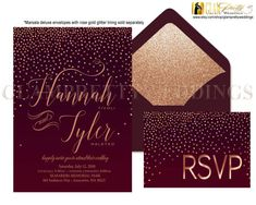 Marsala Rose Gold Glitter Confetti Wedding Invite w/ rsvp