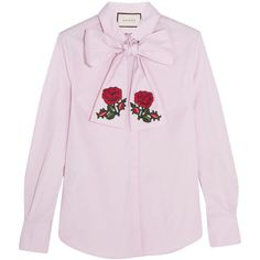 Gucci Embroidered pussy-bow cotton blouse (3 315 PLN) ❤ liked on Polyvore featuring tops, blouses, shirts, gucci, pink silk blouse, pink blouse, silk top, gucci shirt and shirt top