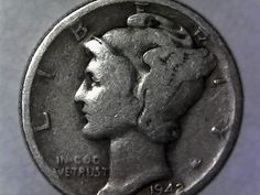 Rare 1942-D Mint Mark Mercury Dime from my Grannys collection. This coin is in good condition. Theres doubling on the S, N, M, and E on the reverse of the coin. The also appears to be off centered. Silver Coins Worth, Silver Coins For Sale, Old Silver Coins, Rare Coin Values, Penny Values, Rare Pennies, Old Coins Worth Money, Silver Dimes, Coin Worth