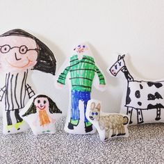 My daughter's hand illustrated fabric toys - make similar using projects from my Creative Craft With Kids book @janefosterdesigns @Pavilion Books