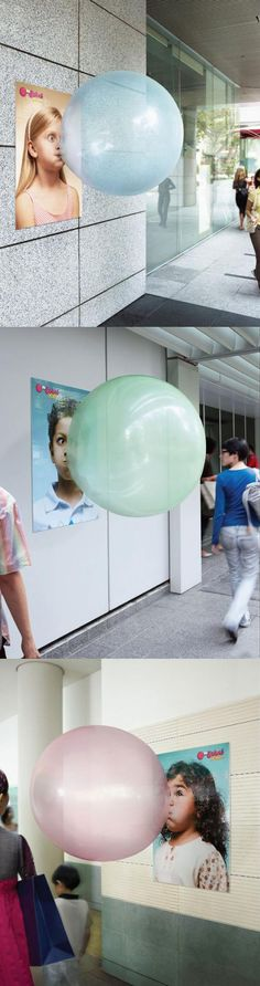 Big Babol Xxl Bubble Gum - guerrilla and viral marketing stuff - Creative Advertising, Guerrilla Advertising, Advertising Campaign, Advertising Design, Marketing And Advertising, Contextual Advertising, Guerilla Marketing, Street Marketing, Internet Marketing