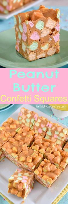 My Grandma used to make these Peanut Butter Confetti Squares every Easter! What a treat, and naturally gluten free too! Only four ingredients and about 15 minutes time are needed to make these fun, naturally gluten free, Peanut Butter Confetti Squares. Köstliche Desserts, Delicious Desserts, Dessert Recipes, Yummy Food, Easy Gluten Free Desserts, Tasty, Weight Watcher Desserts, Gluten Free Peanut Butter, Peanut Butter Recipes