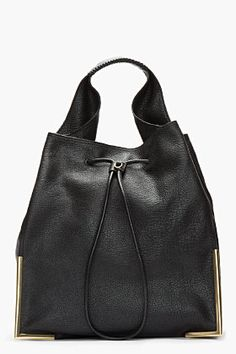 3.1 Phillip Lim Black Scout Lux Grain Goat Leather Hobo Bag