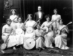 Portrait of Christchurch ladies banjo band, with a male conductor, ca 1913 Great Pictures, Old Pictures, Vintage Photographs, Vintage Photos, Antique Photos, Teen Party Games, Americana Music, Cozy Mysteries, Murder Mysteries