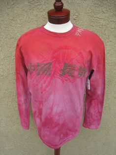 GREAT CHINA WALL Long Sleeve T-Shirt XL Red Indian Ombre Embroidery Screen Men's
