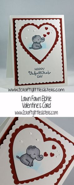 Stop by our blog for a simple, cute Valentine's card for that special someone. The Lawn Fawn Elphie Selphie stamp set was used to make this sweet little card. via @https://www.pinterest.com/2craftylittlesi/pins/
