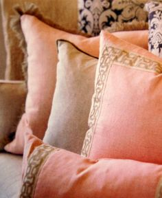Cottage throw pillows in shades of Peach Pink Pillows, Bed Pillows, Throw Cushions, Velvet Pillows, Accent Pillows, Greige, Shades Of Peach, Coral, Linens And Lace