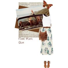 Floral maxi Skirt by nukslucks on Polyvore featuring polyvore fashion style Topshop Tory Burch Aéropostale Steve Madden Dorothy Perkins floralmaxiskirt