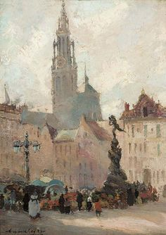 Cathedral and Marketplace, Antwerp. Oil on panel, n.d - by Archibald Kay (Scottish, 1860-1935)