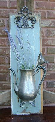 up-cycled old wooden drawer front & coffee pot with lavender