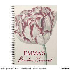 Vintage Tulip - Personalized Garden Journal #notebook #garden #journal #tulip #spring #zazzle #newparklane #vintage