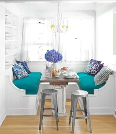 15 Bright, Colorful Breakfast Nooks — Kitchen Inspiration | The Kitchn - Dining Area in the Kitchen with Window Seat / Nook