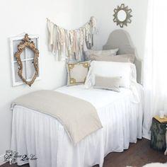 "2-in-1 30"" White Linen Skirted Coverlet | Built-In Skirt Bedspread | Dorm Room, Teen Girl, Home . Decorating a dorm room? Check out Décor 2 Ur Door for the latest dorm room decorating trends. Dorm Room Décor. Designer dorm headboard, dorm bed scarf, dorm bed skirt/dorm dust ruffle, monogram dorm room pillows, dorm room window treatment, lofted dorm bed décor, dorm room wall monogram, chair cover for dorm room, modern dorm room furniture…"